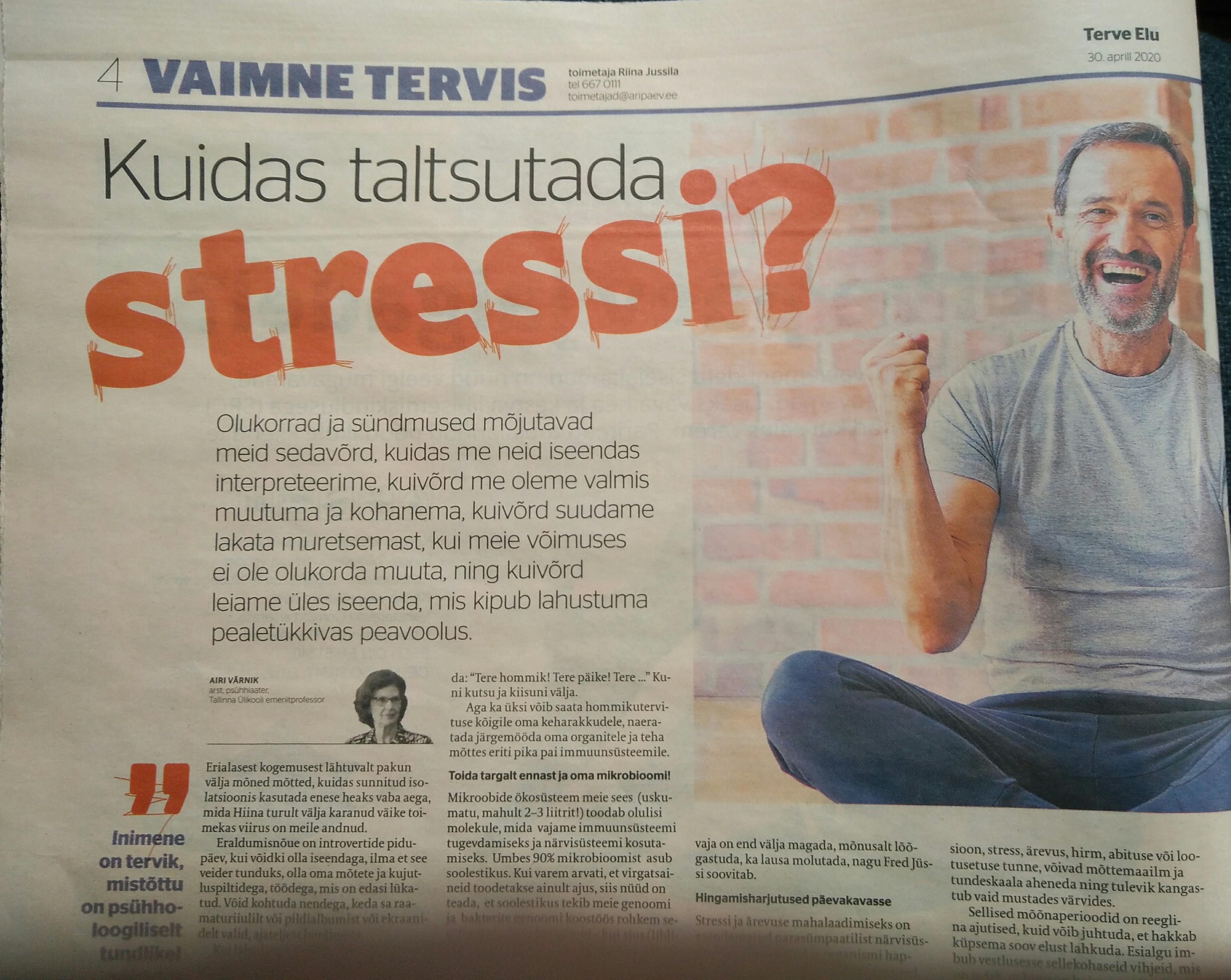 Kuidas taltsutada stressi?